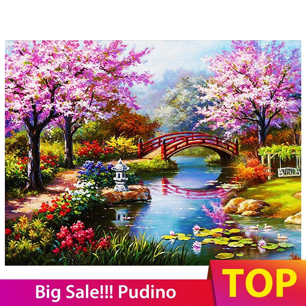 Pumao Lukisan Diamond 5d Diy Gambar Pemandangan Taman Untuk