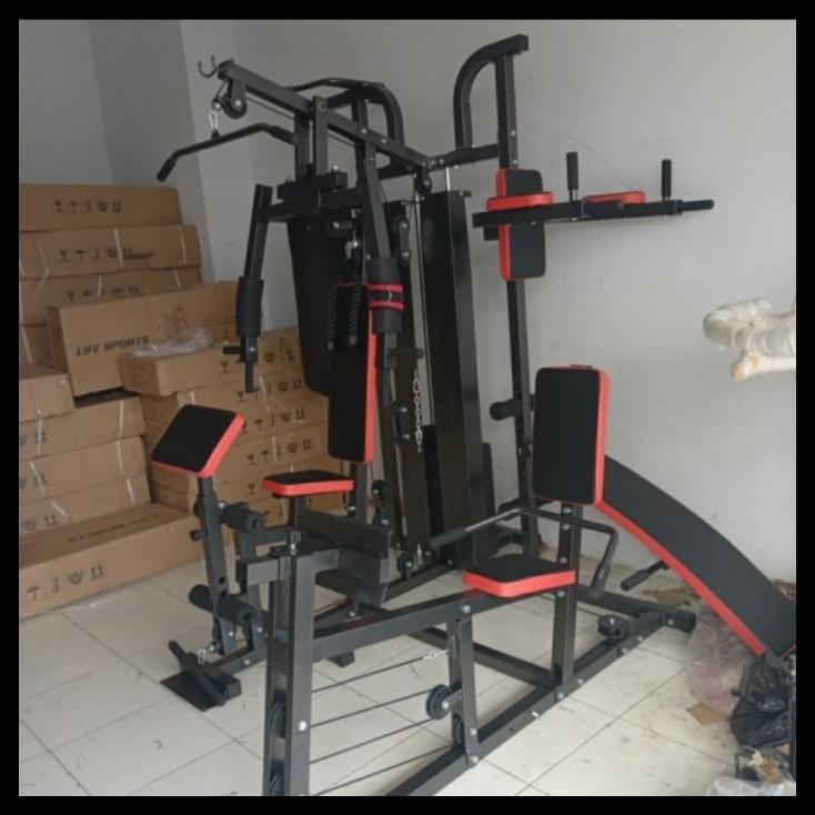 Home Gym 4 Sisi Alat Fitness Multi Gym 4 Station Leg Press Sand Sack