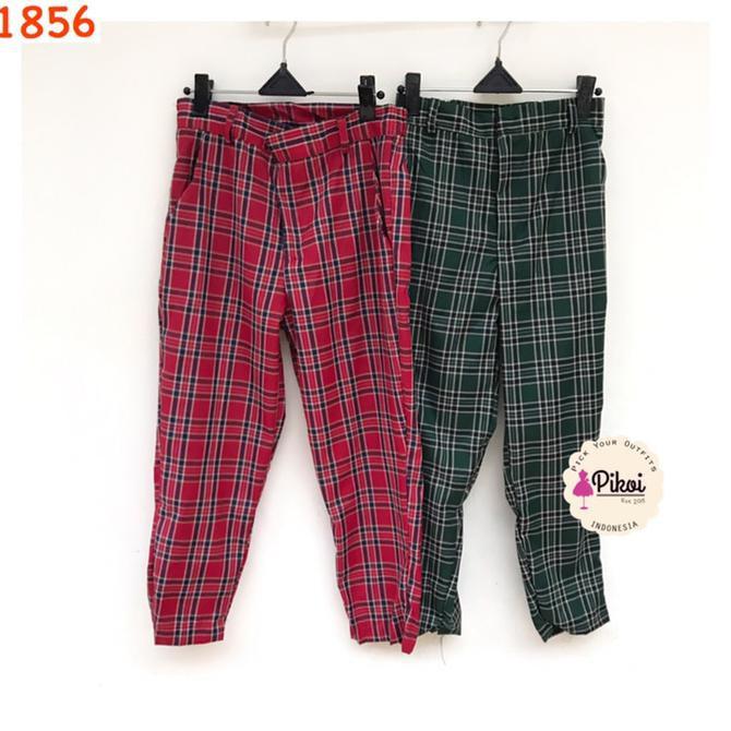 Plaid >> Celana Panjang Wanita Celana Tartan Panjang Plaid Pants Kotak
