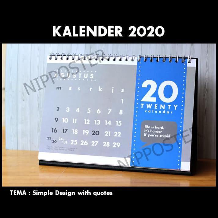 kalender meja tahun tema simple quotes berkelas shopee