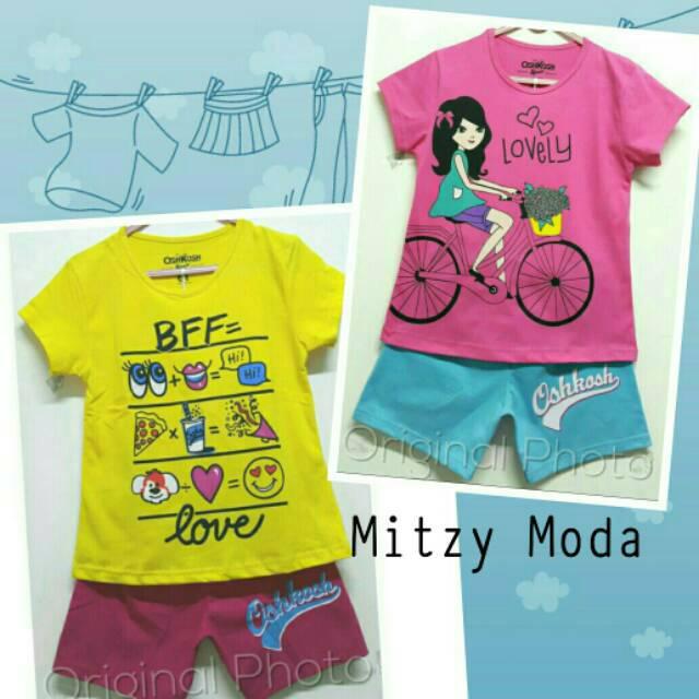 Setelan Baju Kaos Anak BFF - LOVELY GIRL BIKE Pakaian Santai Perempuan  Murah Oshkosh  509c2d69f8
