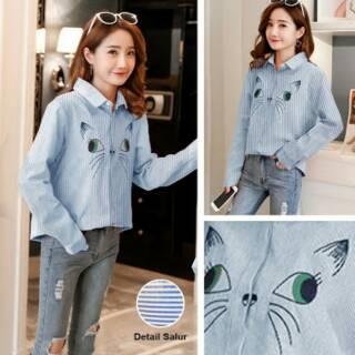 Kemeja Salur Katun Korea Biru Stripes Shirt Blue Cat Woman Fashion Wanita  Kuliah Murah Tanah Abang 0f6eb72cc8