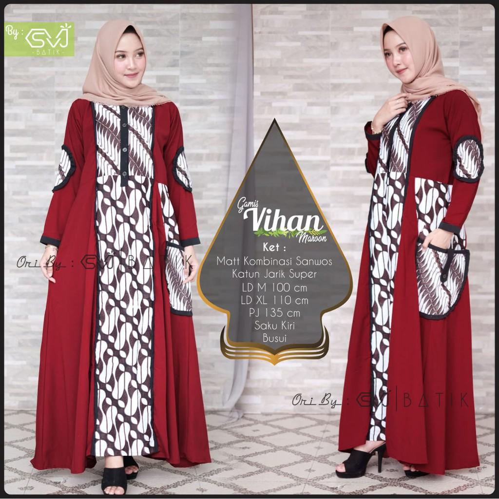 Gamis Vihan Batik Solo Fashion Wanita Gamis Batik Modern Dress Batik  Kombinasi Ori By SVJ