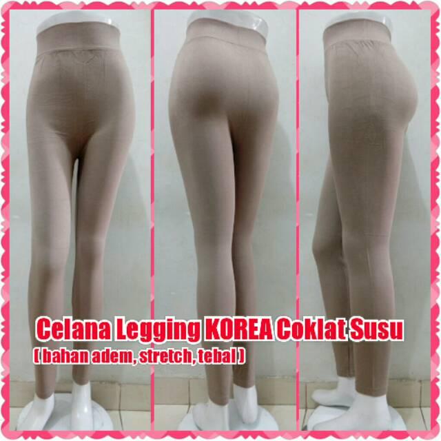 Celana Leging Korea Coklat Susu Legging Import Yoga Panjang Mocca Shopee Indonesia