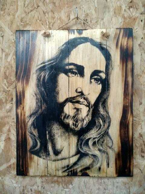 Poster Lukisan Kayu Yesus Jesus Kristiani Hiasan Dinding Rohani Dekorasi Ruang Tamu Shopee Indonesia