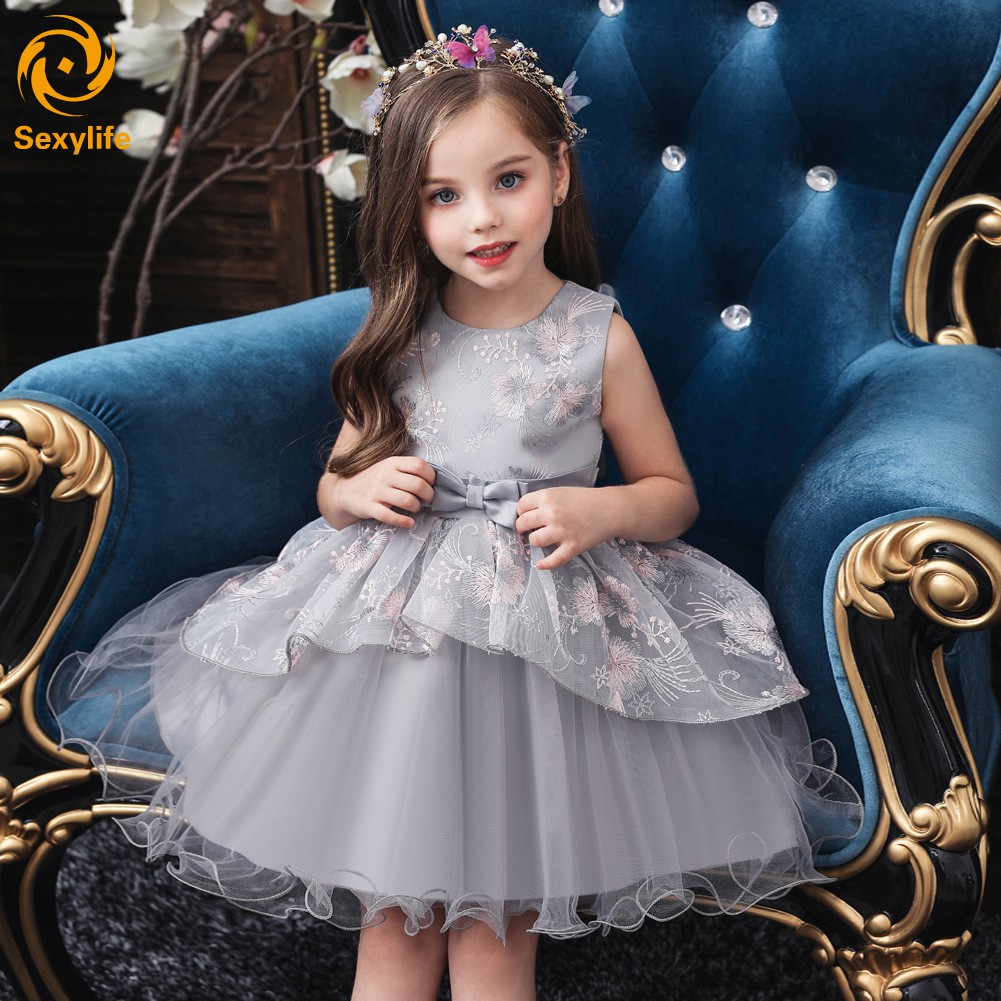 Sl Girl Kids Floral Princess Dress Flower Lace Ball Gown Sleeveless For Pageant Birthday Party Shopee Indonesia