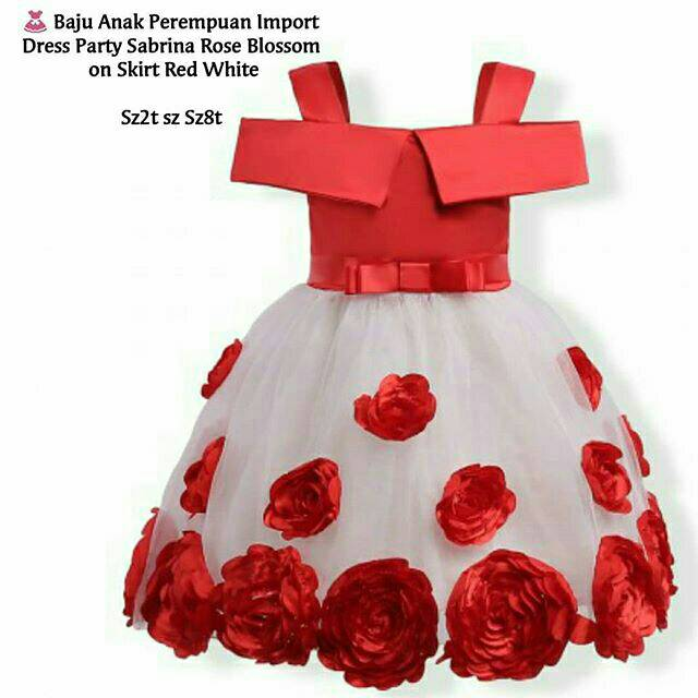 Baju Anak Perempuan Import Dress Party Sabrina Rose Blossom on Skirt Red White | Shopee Indonesia