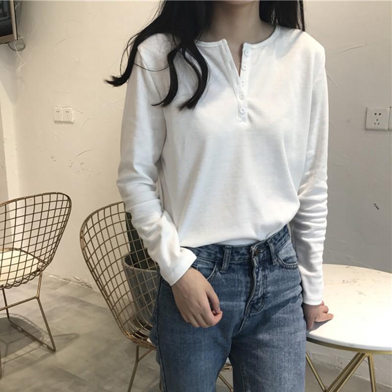 Tipis Panjang T-shirt Siswa Perempuan Liar Gesper Kemeja Bottoming Warna Solid