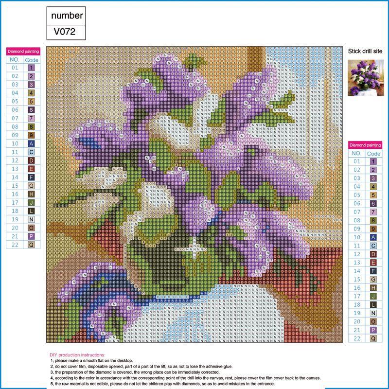 Warna Cat Rumah Minimalis Type 36  lukisan sulaman berlian 5d jahitan bersilang desain bunga ungu model diy