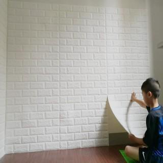 wallpaper dinding 3d foam motif batu bata ukuran 77 x 70