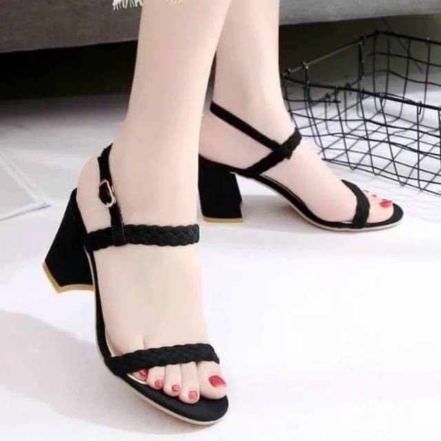 Sandal Hak Tinggi High Heels Hak Tali Kepang Hitam Dyh175 Shopee