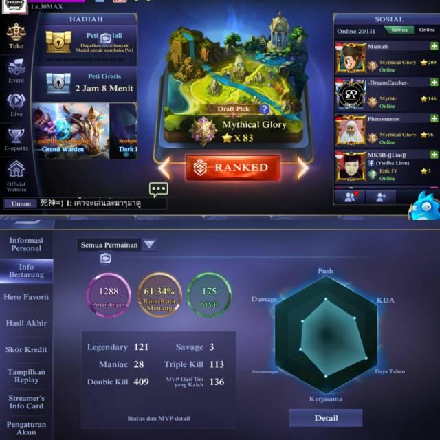 Akun Mobile Legend Mythical Glory Shopee Indonesia