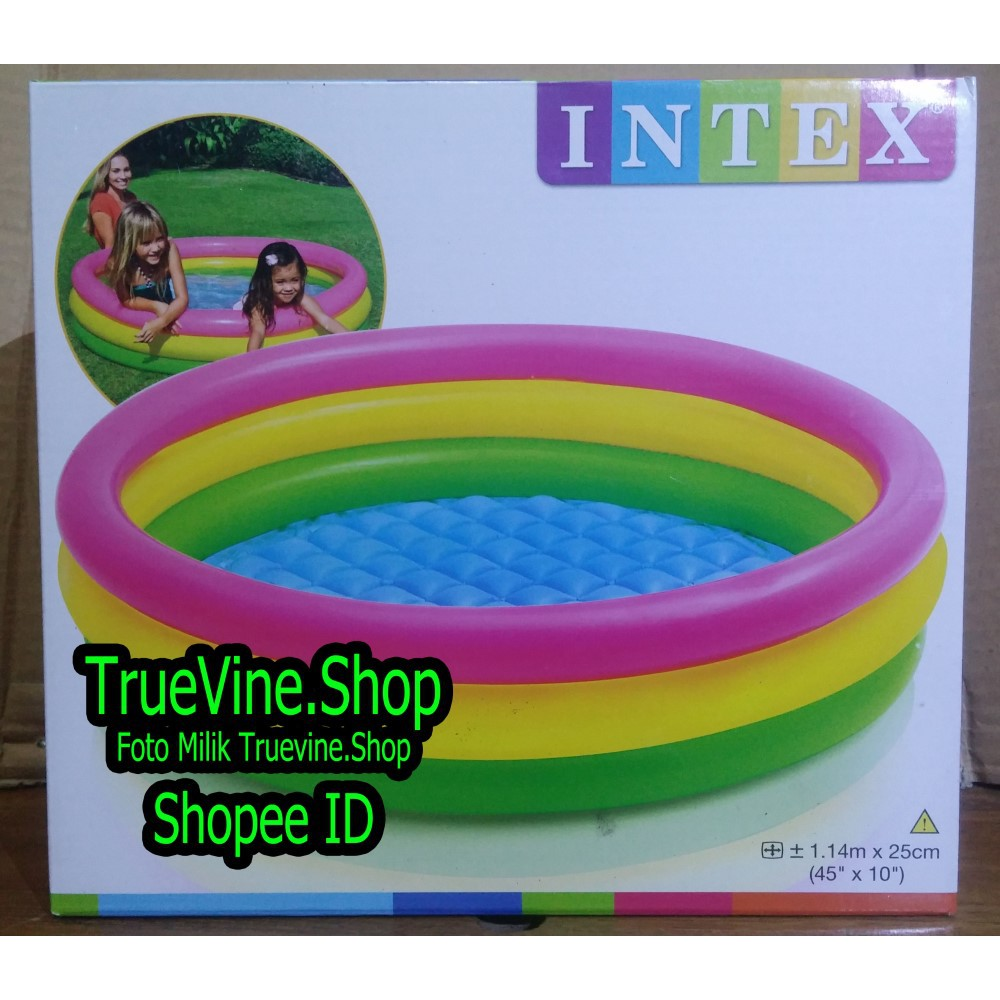 Kolam Renang Anak Pelangi Besar 147x33 Cm Intex Sunset Glow 57422 Baby Pool 3 Ring 58924np 86cm Shopee Indonesia