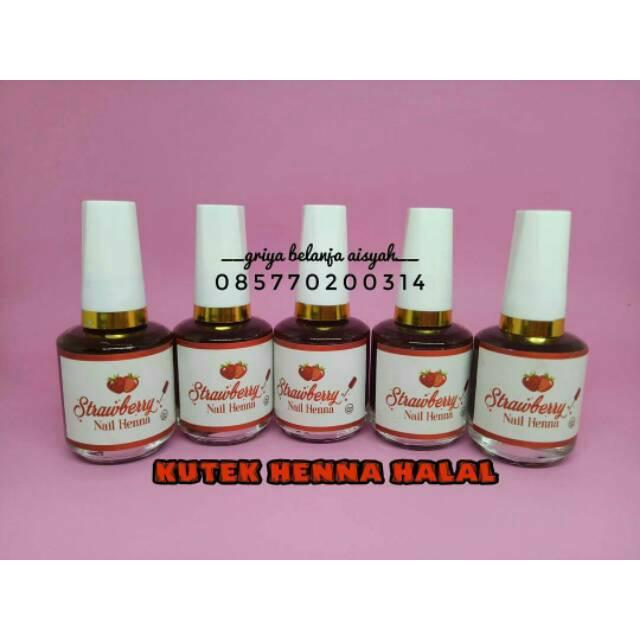 Strawberry Nail Henna Pacar Kuku Kutek Halal Pasta Henna Daftar