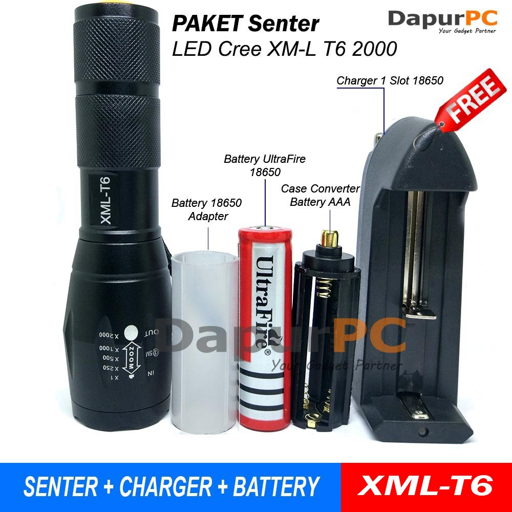 [H] CREE XM-L T6 Senter 12 LED 30000LM+Baterai+Charger | Shopee Indonesia