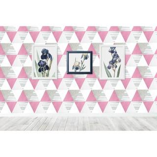 wallpaper dinding segitiga piramid pink abu walpaper