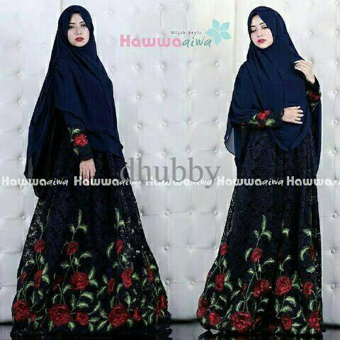 EXCLUSIVE hawwa aiwwa brukat flower pakaian pesta gamis hijab muslim PALING MURAH | Shopee Indonesia
