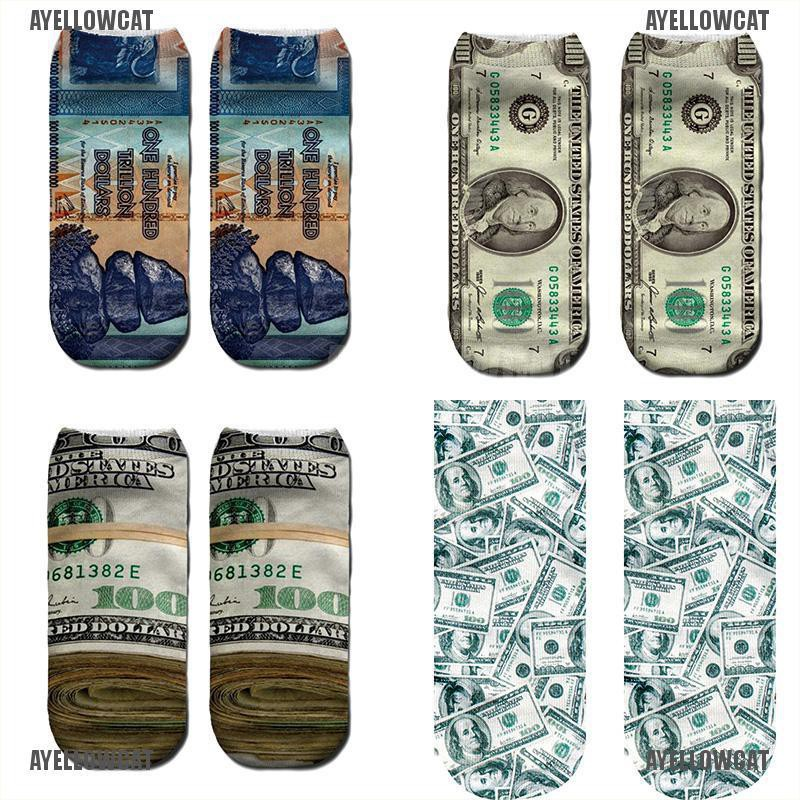3D Print Funny Short Socks Boat Casual Ankle Currency Dollar Hosiery Printed  LY