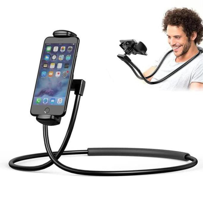 Holder leher Hp flexible / Lazypod Leher / Lazy hanging neck cell phone stand mount necklace   Shopee Indonesia