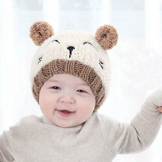 Topi Kupluk Bayi Rajut - Kupluk Anak Fleece SMiLey Cat Hangat Lembut Baby  Cap Cute Hat d60316334a