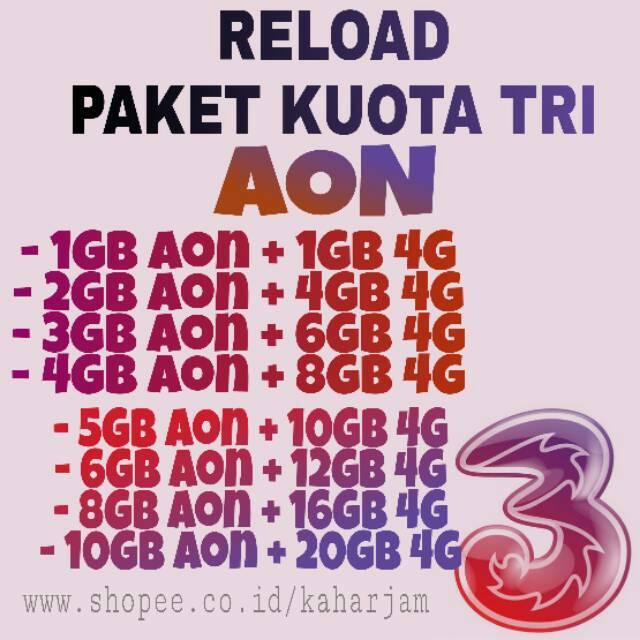 Paket Kuota Tri Aon 4g Paket Data Three Paket Aon Paket Intenet Kuota Data Indosat Xl Shopee Indonesia