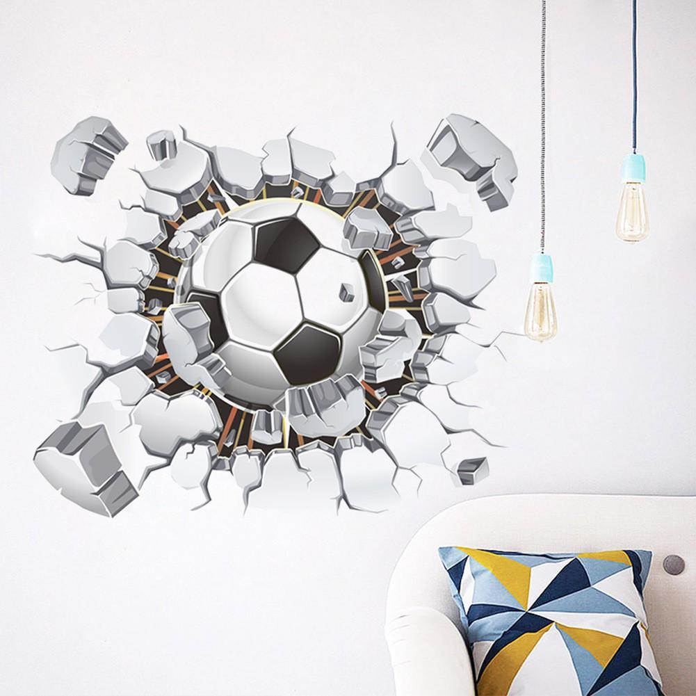 DIY Stiker Dinding Dengan Bahan Mudah Dilepas Dan Gambar Sepak Bola 3D Untuk Dekorasi Rumah