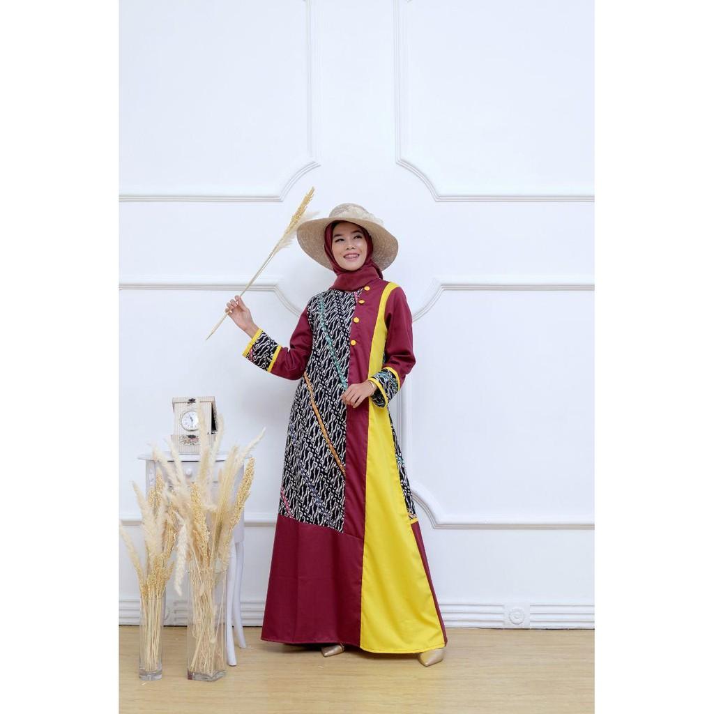 Gamis Batik Etnik Kombinasi Kain polos Batik Kombinasi Baju muslim syari  Baju muslim model Baru COD