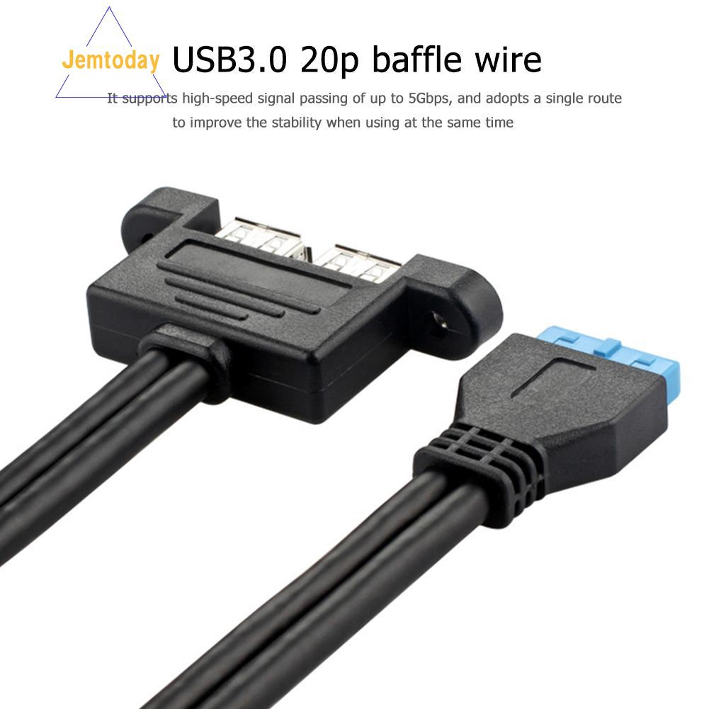 1pcs USB 3.0 Motherboard 20 Pin Male To Female Socket Extension Cable Cord 0.5M