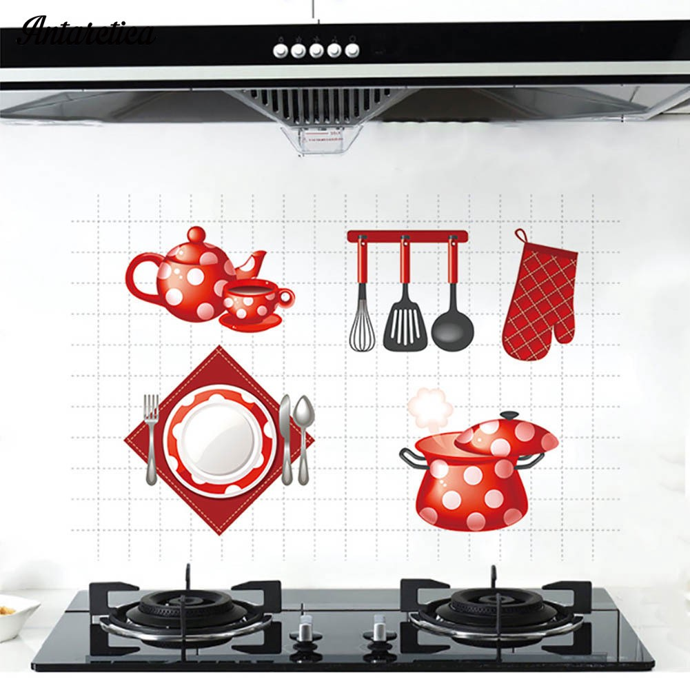 Wall Stickers Kitchen Anti Oil Heat Resistant Tile Aluminum Shopee Indonesia