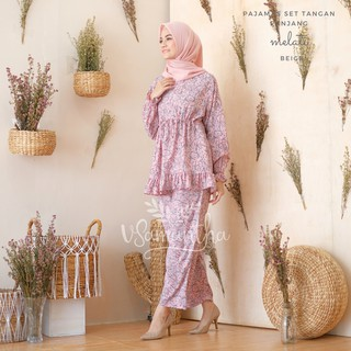 vSamantha - Pajamas Set / Piyama Set Muslim Rayon Rempel Busui Friendly - Tangan Panjang