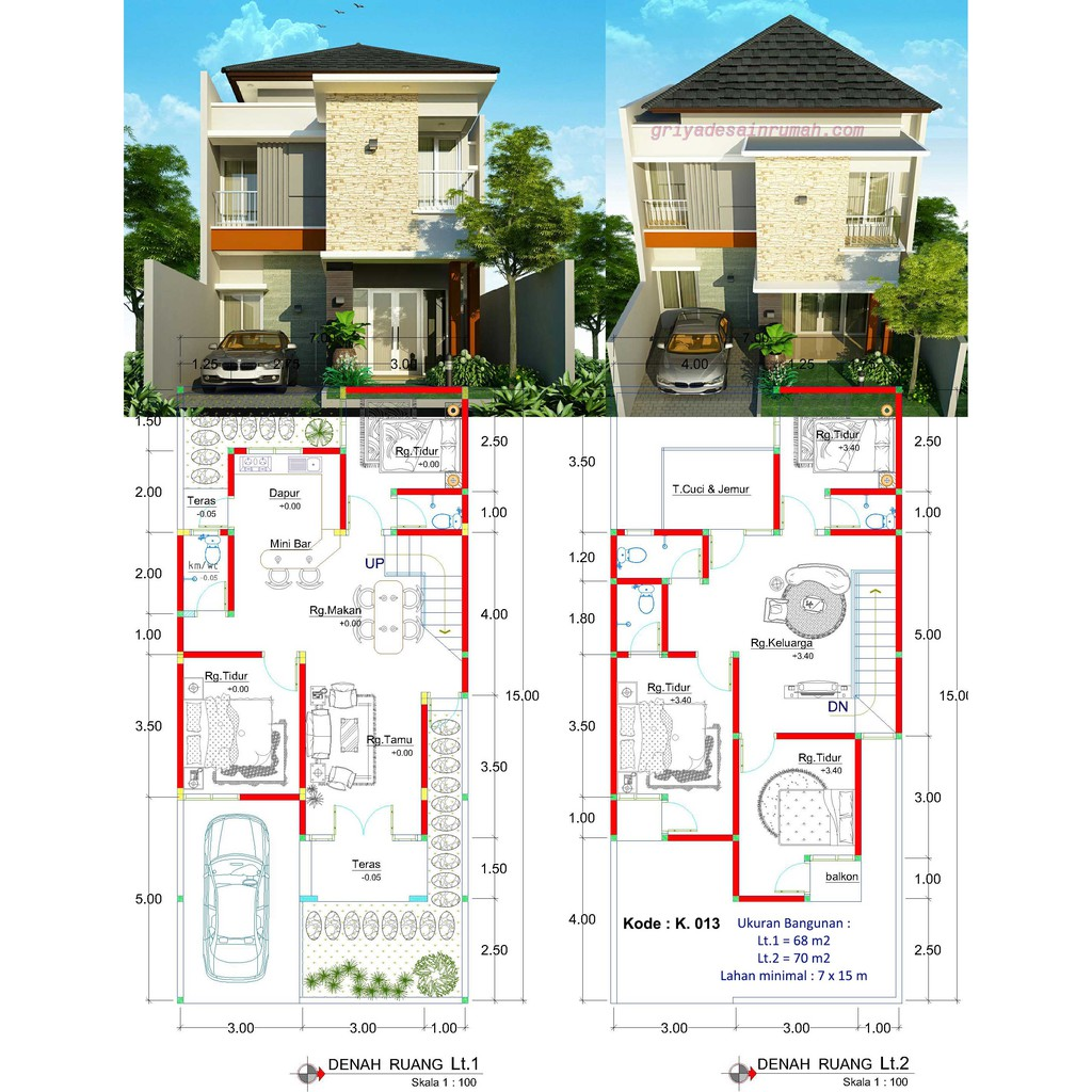 Desain Rumah 2 Lantai Minimalis 5 Kamar Tidur Ukuran 7x15 Meter Shopee Indonesia