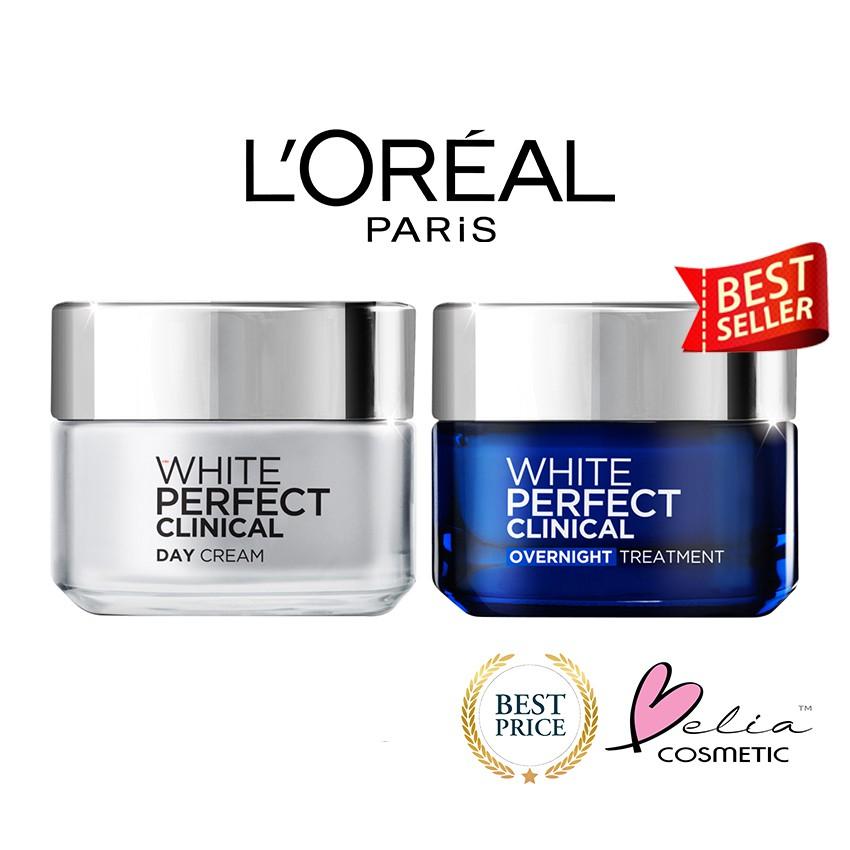 Deoonard 7 Days Whitening Cream Krim Pemutih Wajah: BELIA L'Oreal Paris White Perfect Clinical 50ml ( Loreal