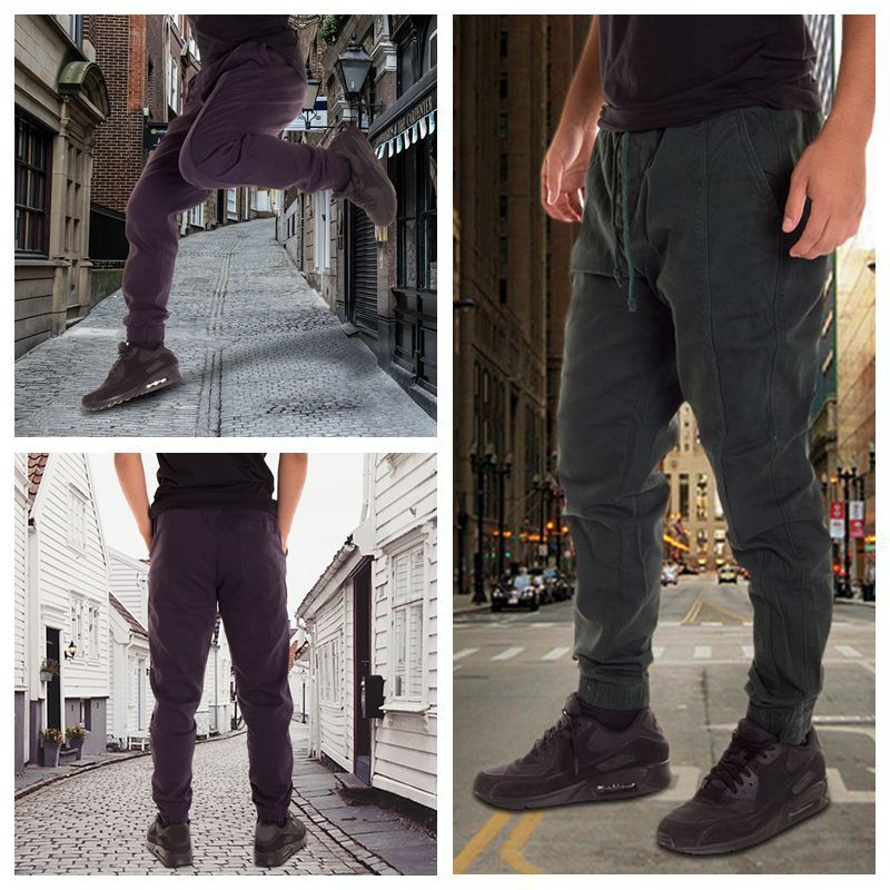 New Mens Chinos Joggers Regular Fit Cuffed Chino Jogger Pants Cotton Trousers | Shopee Indonesia