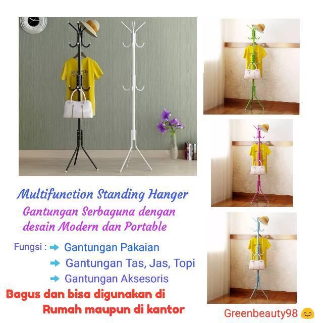 (GARANSI PART) OKT Multifunction Standing Hanger Gantungan Pakaian Baju Tas Topi Portable modern | Shopee Indonesia