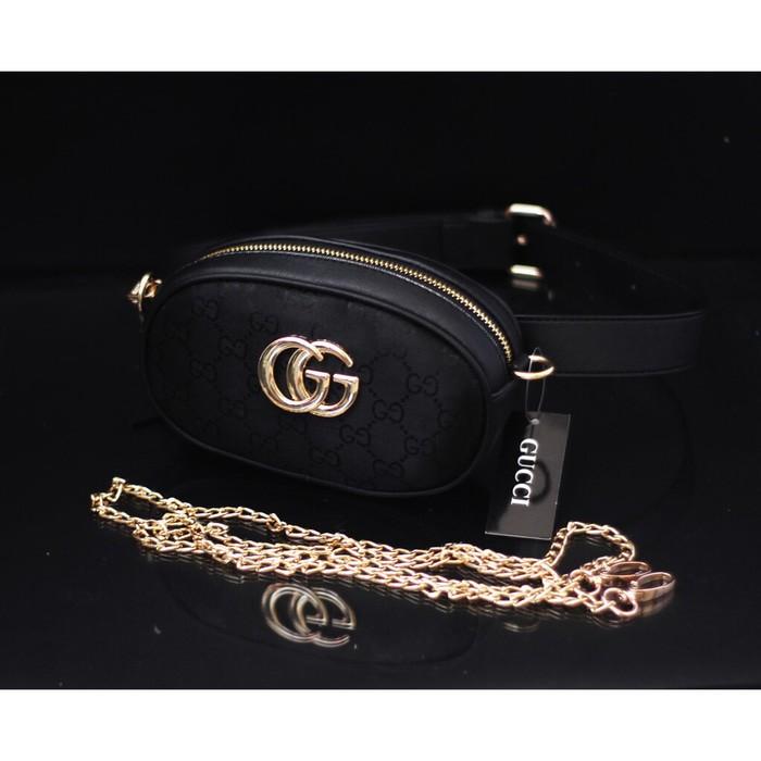 Tas Wanita Tas Batam Import Gucci Belt Nagita Mini Canvas Ib - Hitam A2  best seller  07aa216450