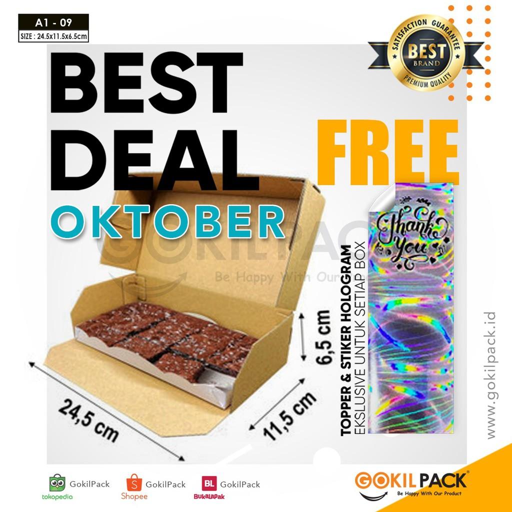 10 Pcs Kardus Kotak Brownies + Tatakan Kue Anti Minyak 24 ...