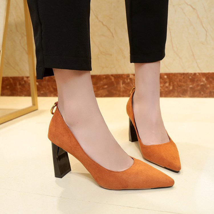 Sepatu High Heels Ujung Lancip Elegan Gaya Korea Bahan Suede | Shopee Indonesia