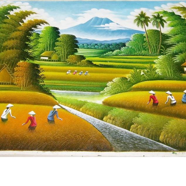 Lukisan Feng Shui Panen Padi Pemandangan Sawah Ukuran 135 X 85 Cm Shopee Indonesia