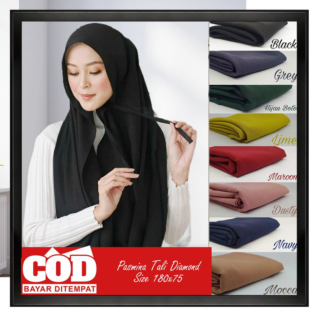Hijab Pashmina Diamond Tali 180x75 Almaula Kerudung Pasmina Tali Diamond Jilbab Pashmina Tali Shopee Indonesia