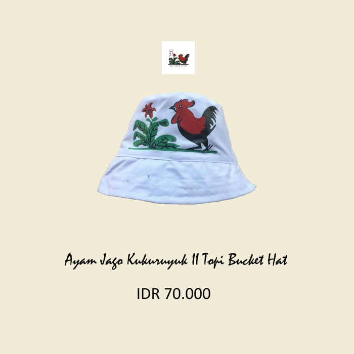 1daad58f022a1 Topi ayam jago bucket hat putih