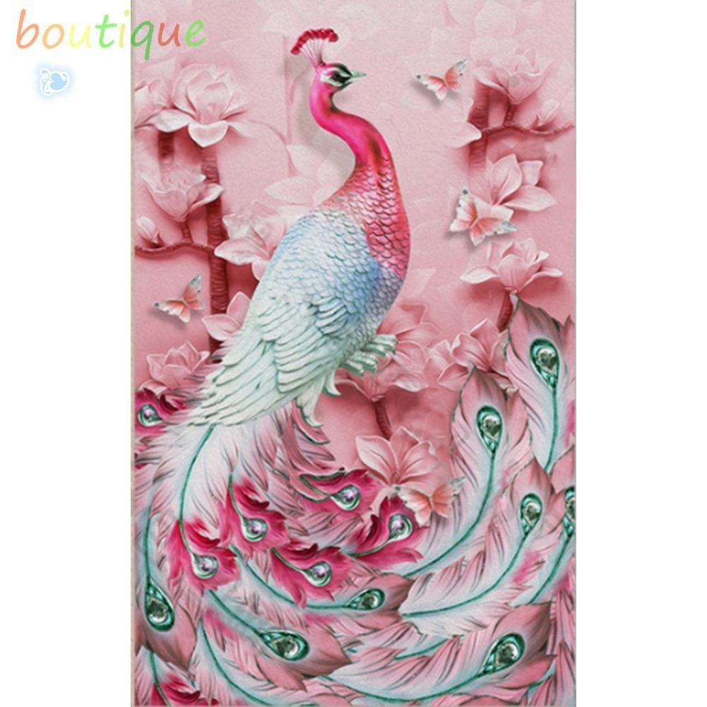 BOU Lukisan Sulaman Berlian 5D Jahitan Bersilang Desain Pink Peafocock DIY