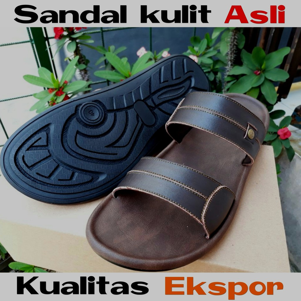 TERMURAH! Sendal   Sandal Kulit Premium Pria High Quality 011TAN ... 14d6a9c47c