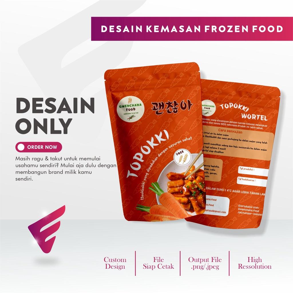 Elvida Creative Design - Jasa Desain Kemasan Frozen Food Topoki Premium Desain Standing Pouch