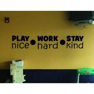 wall stiker play work stay hiasan dinding kaca cutting