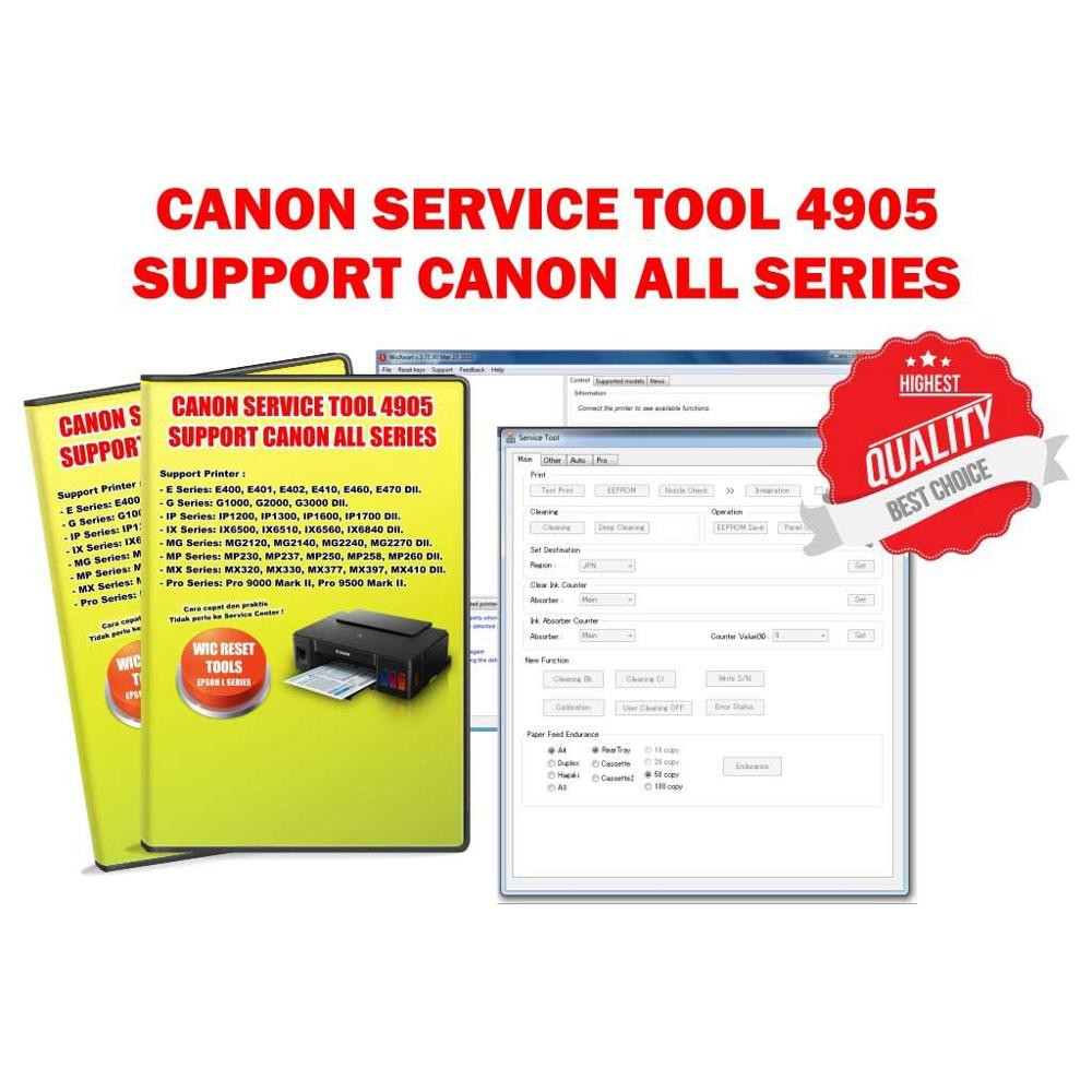 Reset Canon Service Tool v4905 Reset Printer Canon G1000 IP2770 MP258  IX6560 MG6170 G Series IP Ser