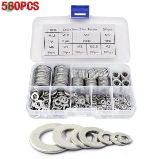 580pcs Flat Washer Gasket Seal Ring Silver Stainless Steel M2-M12 Assortment Kit