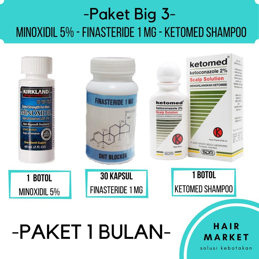 Big 3 Paket Suplemen Penumbuh Rambut Minoxidil Finasteride Ketomed Original Shopee Indonesia
