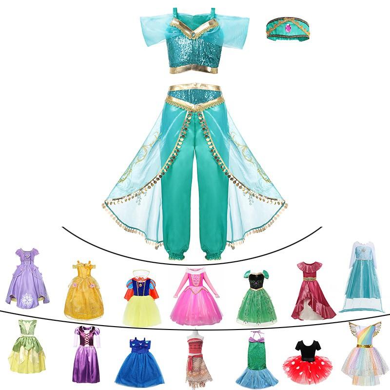 Kid Girl Princess Dress Aurora Snow White Rapunzel Party Fancy Dress Cosplay Set