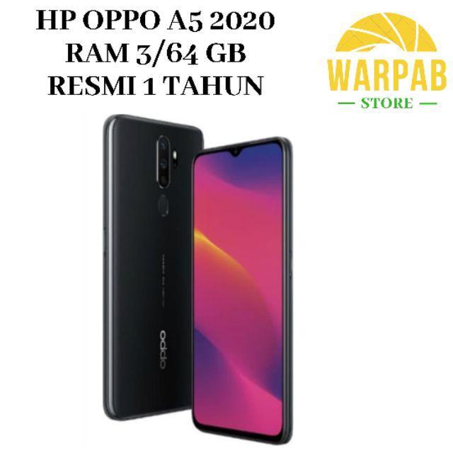 TERBARU HP OPPO A5 2020 3/64 GB - OPO A 5 RAM 3GB INTERNAL 64GB GARANSI RESMI-Hitam
