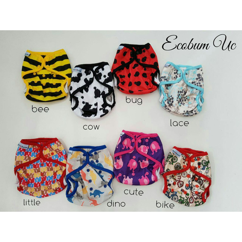 Ecobum New Born Cover Velcro Shopee Indonesia Super Trainer Cloth Diaper Popok Kain Motif 11
